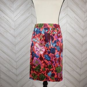 J. CREW Foral Pink Water Color The Pencil Skirt